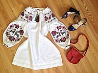 """Сукня """"Коники"""" біла з бордово/зеленою вишивкою, фото 1"""