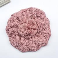 Модная женская зимняя вязанная шапка берет с помпоном розового цвета