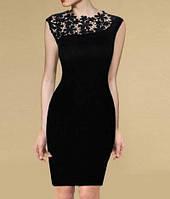 MD-51644 Черное платье с гипюровыми вставками