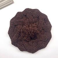 Модная женская зимняя вязанная шапка берет с помпоном шоколадного цвета