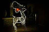 Олень новогодний, высота 120 см; гирлянда внешняя LED 150 лампочек., фото 1