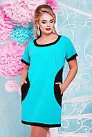 50, 52, 54, 56, 58, 60  размеры Платье женское большого размера Кокетка модное красивое бирюза
