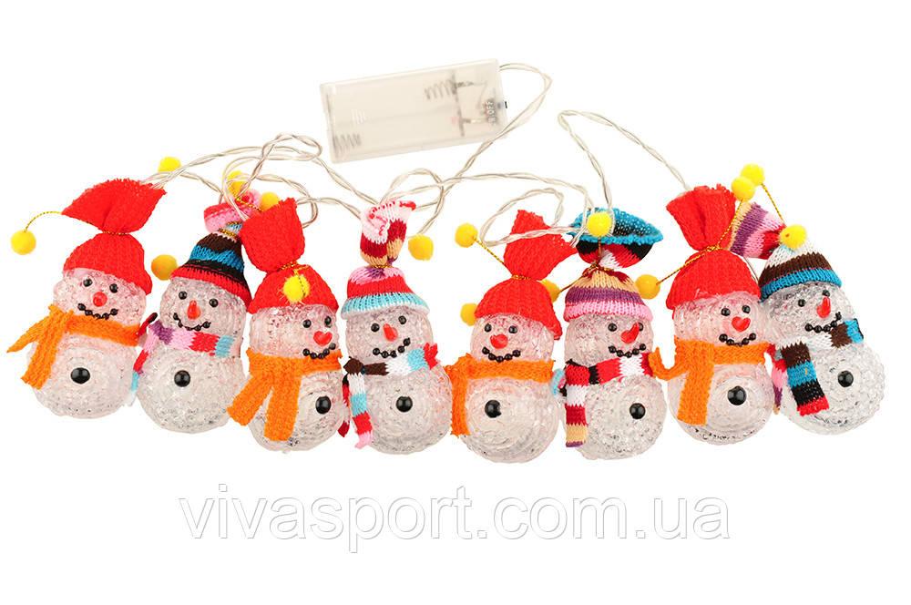 LED-гирлянда Снеговички, гирлянда светодиодная 10 LED Снеговики