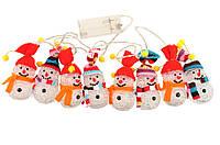 LED-гирлянда Снеговички, гирлянда светодиодная 10 LED Снеговики, фото 1