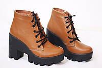 Женские стильные ботинки на меху от TroisRois из натуральной турецкой кожи