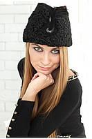 Женская шапка пилотка из каракульчи  55–58р. черная