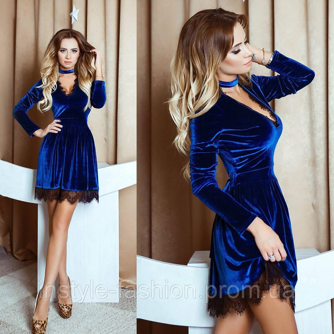 68c01f6bb80 Женское красивое бархатное платье с кружевом синее  купить недорого ...