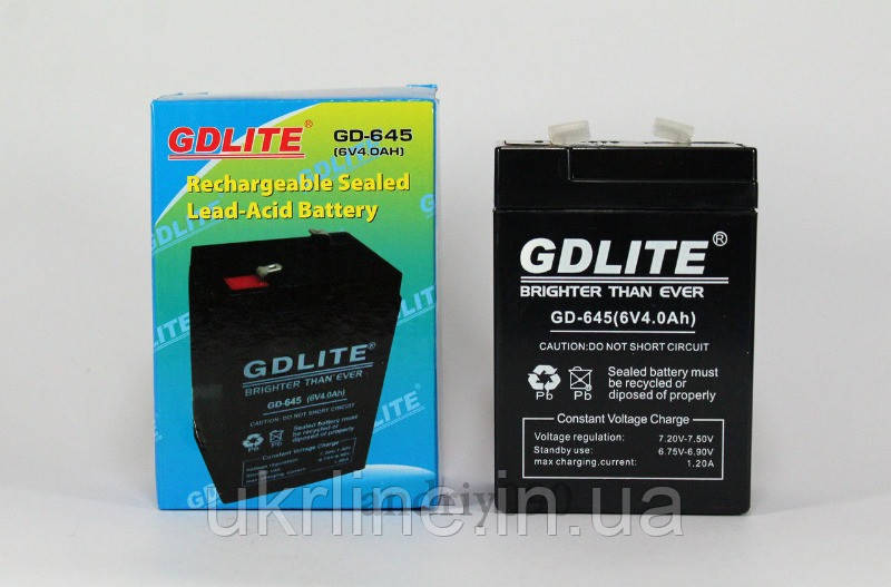Аккумулятор BATTERY GD 645 6V 4A, аккумуляторная свинцово-кислотная батарея  - Интернет-магазин UkrLine в Киеве