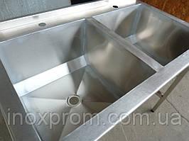 Ванна моечная 2-х секционная 1000х500х850 из нержавеющей стали