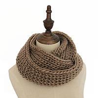 Стильный теплый вязанный женский шарф-хомут снуд цвета хаки