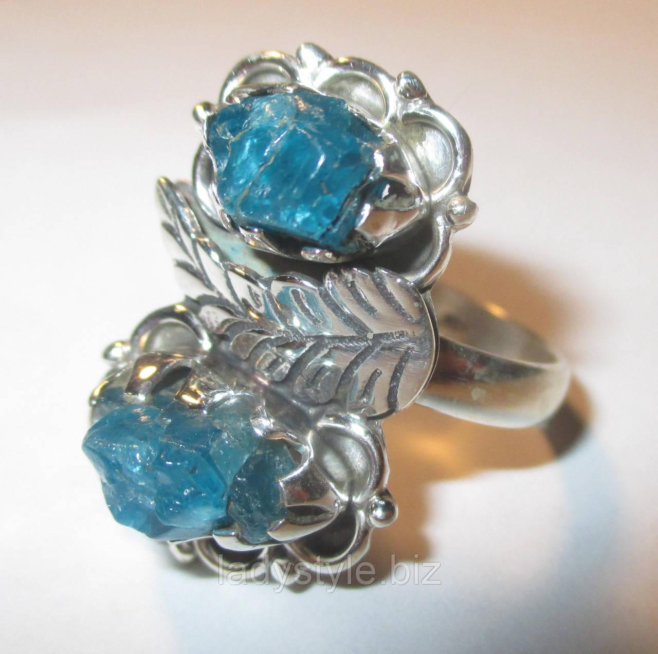 """Срібний перстень з натуральним апатитом """"Неон"""",розмір 18,8 від студії LadyStyle.Biz"""