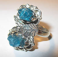 """Срібний перстень з натуральним апатитом """"Неон"""",розмір 18,8 від студії LadyStyle.Biz, фото 1"""
