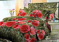 Комплект постельного белья 3D розы на темно зеленом