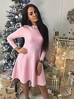 Красивое женское платье клеш ткань трикотаж машинная вязка цвет розовый