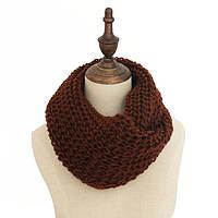 Стильный теплый вязанный женский шарф-хомут снуд шоколадного цвета