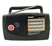 Маленький радиоприемник KB 308: AM/TV/FM/SW1/SW2, 2х1,5В R20 или 220В, антенна, 117х205х68 мм