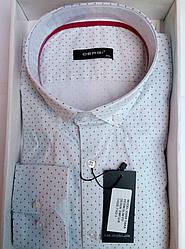 Чоловіча сорочка приталені батал DERGI довгий рукав код 7162-3
