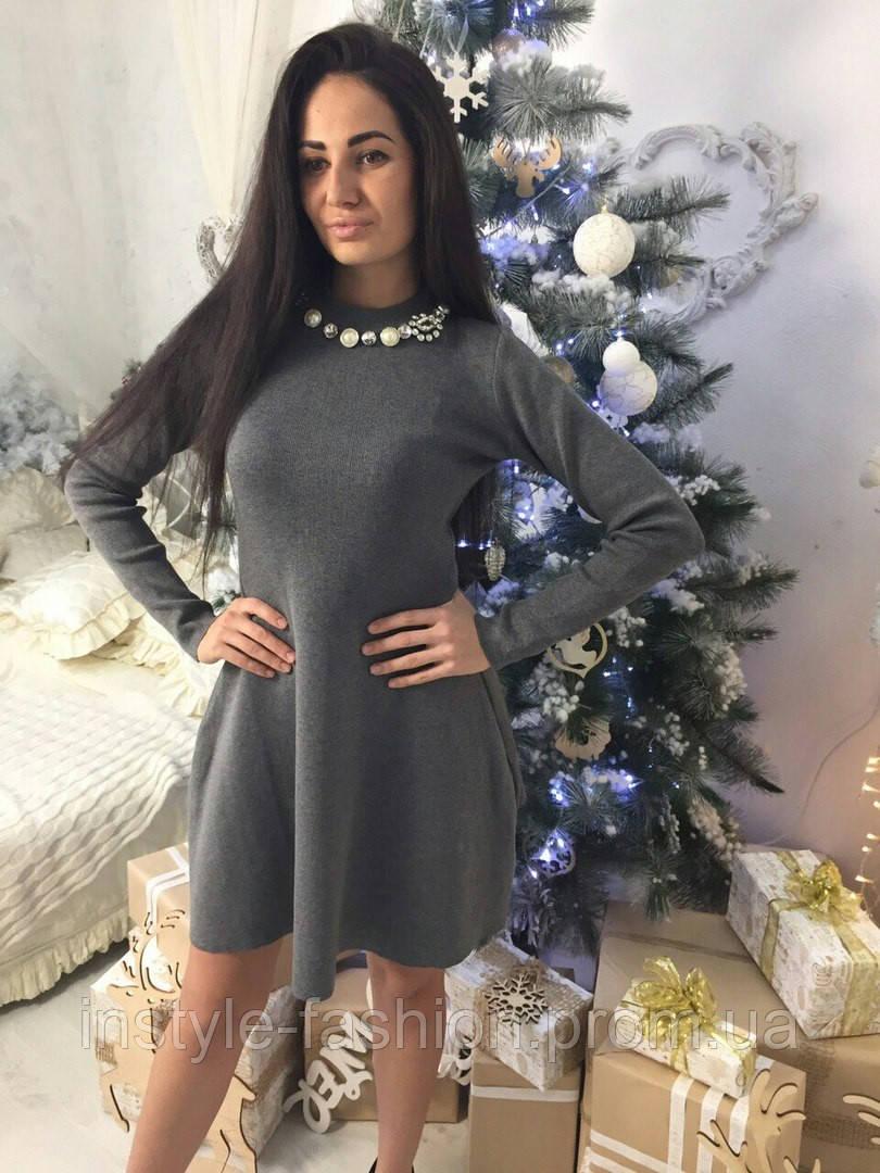 Красивое женское платье клеш ткань трикотаж машинная вязка цвет серый
