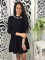 Красивое женское платье клеш ткань трикотаж машинная вязка цвет черный
