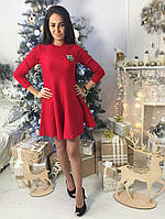 Короткое женское платье клеш ткань трикотаж машинная вязка цвет красный, фото 1