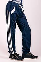 Спортивные детские штаны с лампасами (Темно-синий+Белый)