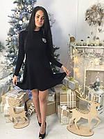 Короткое женское платье клеш ткань трикотаж машинная вязка цвет черный, фото 1