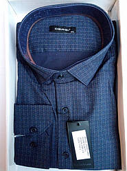 Чоловіча сорочка приталені батал DERGI довгий рукав код 7160-3