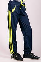 Спортивные детские штаны с лампасами (Темно-синий+Лимонный)