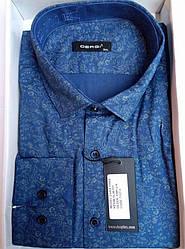 Чоловіча сорочка приталені батал DERGI довгий рукав код 7157-3