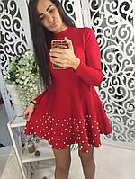 Очень красивое платье клеш с жемчугом ткань трикотаж машинная вязка красное, фото 1