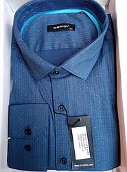 Чоловіча сорочка приталені батал DERGI довгий рукав код 7160-2