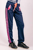 Спортивные детские штаны с лампасами (Темно-синий+Розовый)