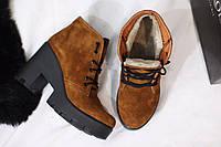 Женские стильные ботинки на меху от TroisRois из натуральной турецкой кожи РЫЖИЙ 3