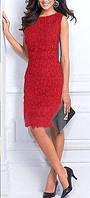 MK-1157 Нарядное Красное Платье Футляр Миди Гипюр на Новый год