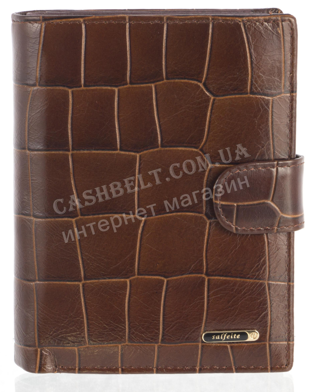 Мужской стильный классический бумажник портмоне с натуральной кожи под крокодила SALFEITE art. 2310T-F17 корич