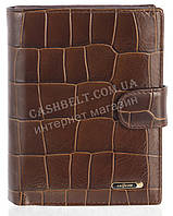 Мужской стильный классический бумажник портмоне с натуральной кожи под крокодила SALFEITE art. 2310T-F17 корич, фото 1