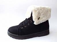 Чёрные женские зимние ботинки на меху с отворотом  тёплые  Z-079