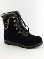 Модные женские зимние ботинки на меху с опушечкой тёплые под замшу Z-008