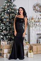Красивое платье в пол с паетками ткань дайвинг черное