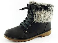 Зимние женские ботинки на меху с опушкой тёплые  Z-059