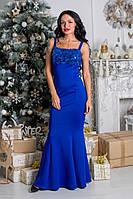 Красивое платье в пол с паетками ткань дайвинг синее
