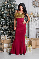 Красивое платье в пол с паетками ткань дайвинг бордовое