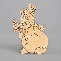 """Новогодняя деревянная елочная игрушка заготовка Подвеска """"Веселый снеговик"""", фото 1"""