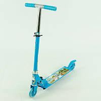 Самокат для мальчиков 2-5 лет, 2 колеса PVC, d-10см., металлический, в кор-ке. Цвет Голубой