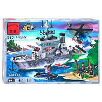 """Конструктор BRICK 820 (18) """"Военный корабль"""" 614 дет, в коробке"""