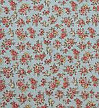 Ткань в стиле прованс мелкая роза, фон светлая бирюза в горошек, фото 2