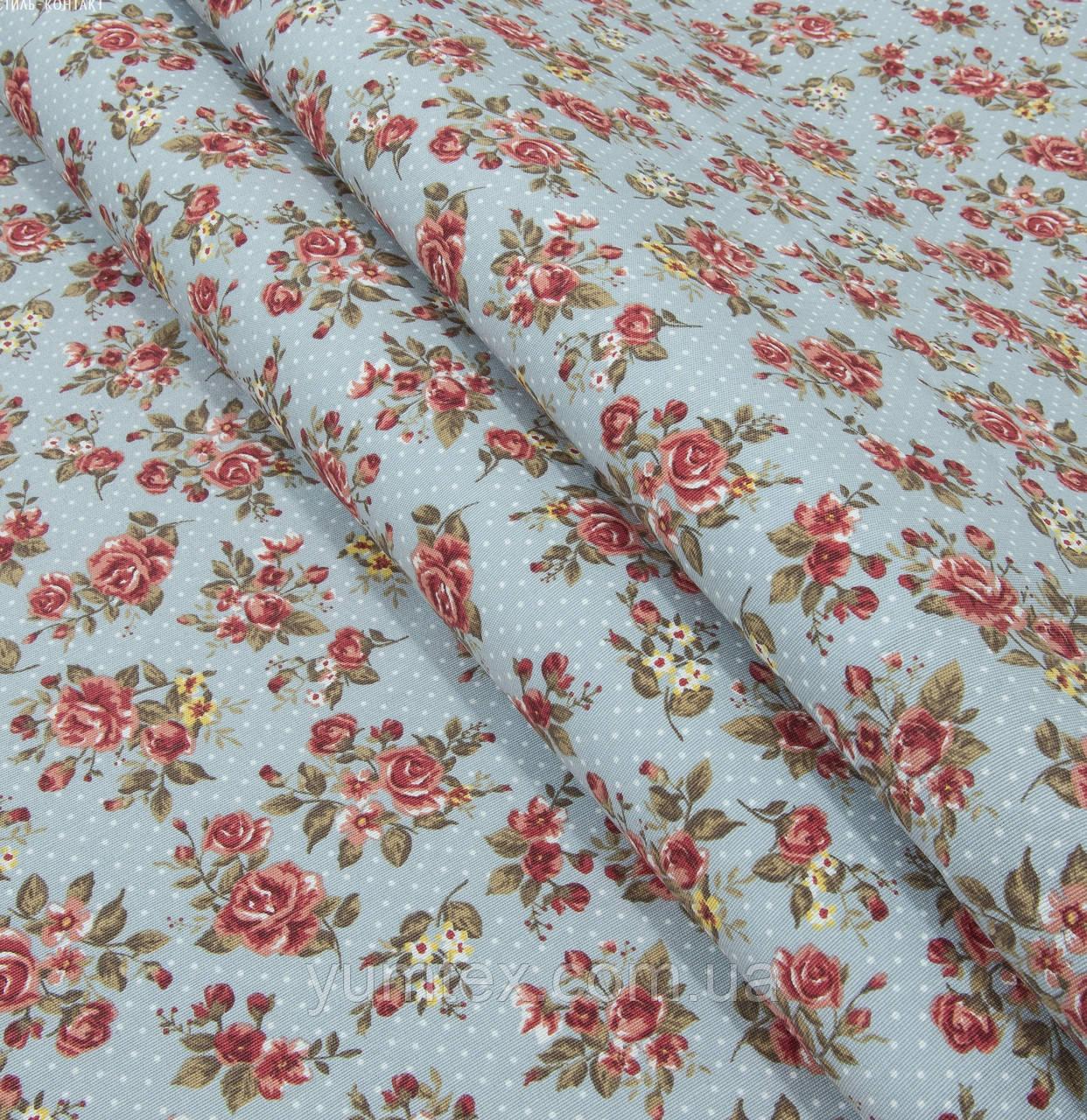 Ткань в стиле прованс мелкая роза, фон светлая бирюза в горошек
