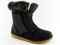 Красивые зимние женские ботинки на меху с опушкой тёплые с стразами высокие чёрные Z-084