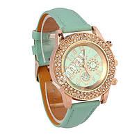 Шикарные женские часы Geneva Cristal Mint Green со стразами