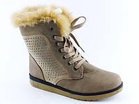 Удобные зимние женские ботинки на меху с опушкой тёплые с стразами высокие бежевые Z-035